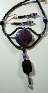 Amethyst purple rocks and crystals, necklace and earrings set #