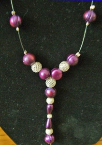 Cerise pearls and silver diamond dust balls necklace #