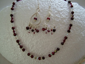 Deep Red, jewelry, necklace, earrings