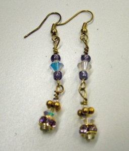Clear and blue crystals with gold #