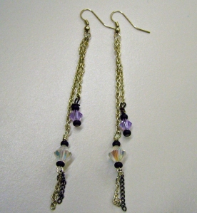 Clear and purple crystals with black beads on silver #