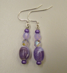 Clear and purple beads #