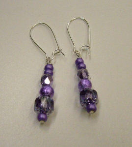 Purple and clear beads on silver #