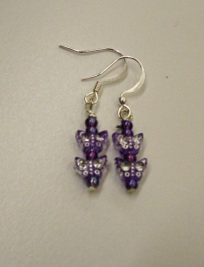 Purple butterfly beads on silver #