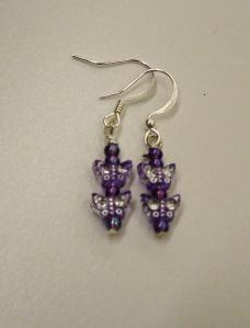 Purple butterfly beads on silver #
