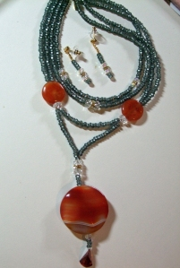 Grey seed crystal beads and fire sapphire