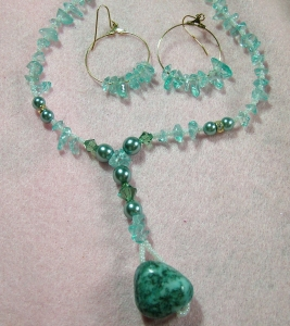 Turquoise stone with green, clear crystals, necklace and earring set E