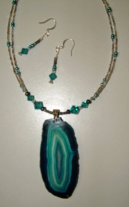 Turquoise agate necklace and earring set #