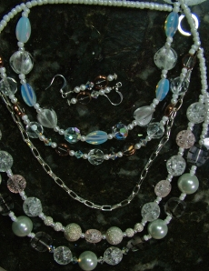 Clear crystals, beads and pearls, necklace and earring set #