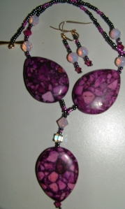 Purple stones and crystal necklace and earring set #