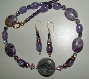 Purple stones, glass and crystal beads, necklace and earring set #