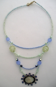 Blue, white and clear beads with stone, necklace #
