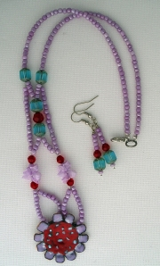 Purple beads with red beads and stone, necklace and earring set