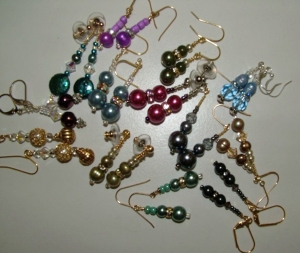Assortment of colored beaded earrings #