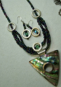 New Zealand pawa shell set in silver, necklace and earring set #