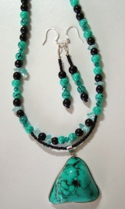 Turquoise on silver, necklace and earring set #