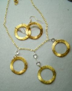 Gold filled hoops with crystals, necklace and earring set #