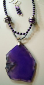 Purple Stone and beads, necklace and earring set #