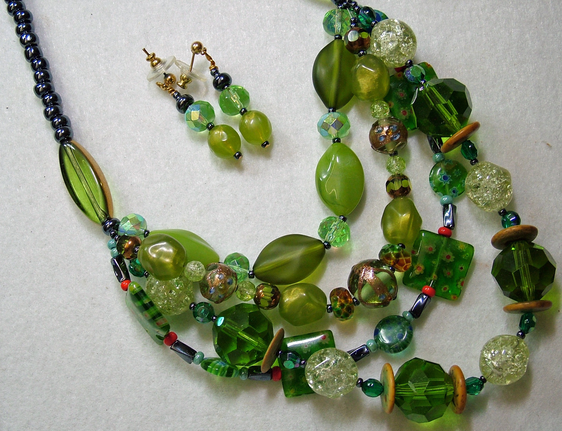 Large assorted three strand green bead necklace and earring Set ...